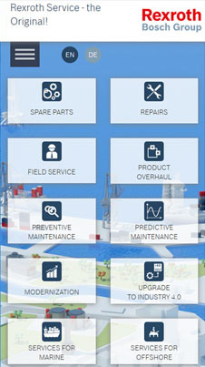Rexroth Bosch Group Mobileansicht mit Services